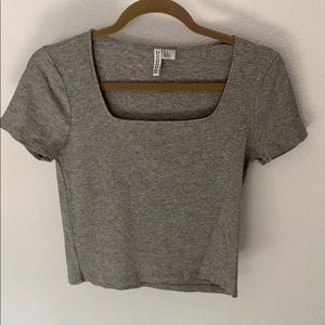 Grey square neck top